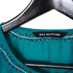 KAS New York Tops - KAS New York Teal Blue Rosita Blouse Large Silk